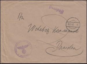 Feldpost Fliegerhorst-Kompanie Vechta, Brief Feldpost-O stummer Stempel 30.11.42