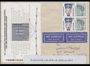 HBl.32 SWK 1993 mit Block 32 Befreiung auf USA-Lp.-Brief Egglham 24.7.95