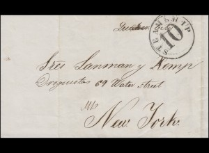 Brief von 1860 ab Havanna nach New York mit K1 STEAMSHIP 10