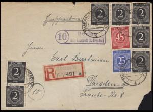 Ziffern-MiF Briefvorderseite Landpost Borlas über Tharandt 31.12.46 n. Dresden