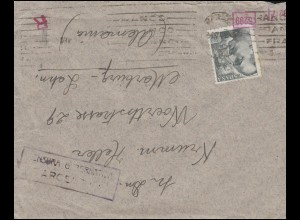 Zensurpost Spanien 847 EF auf Brief ins Deutsche Reich um 1940 nach Marburg/Lahn