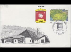 Frankreich Klappkarte Einweihung Poststelle Morizine, 2433 SSt MORIZINE 7.7.1984