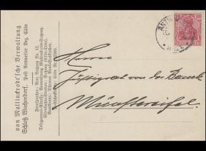 Germania 10 Pf. EF Postkarte ANTWEILER BZ. CÖLN 3.9.19 nach Münstereifel