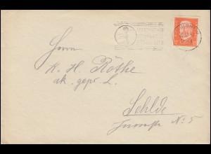 466 Hindenburg 12 Pf. als EF Brief HILDESHEIM Fernsprecher 20.12.32 nach Sehlde