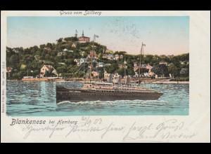 AK Blankenese bei Hamburg - Gruss vom Süllberg, 21.9.1903 nach ALTENA 22.9.03