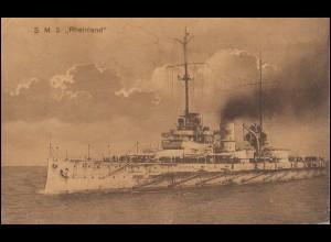 DEUTSCHE MARINE-SCHIFFSPOST No 30 - 21.4.1915 SMS Rheinland auf passender AK