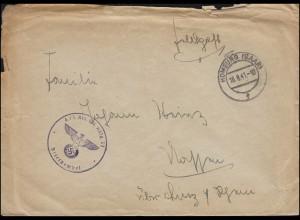 Feldpost BS Artillerie-Ersatz-Regiment 33 auf Brief HOMBURG / SAAR 16.8.1941