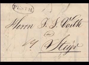 Ungarn Vorphilatelie Brief Oval-O PESTH vom 18.2.1834 über 14 Kr. nach Steyr