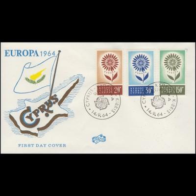 Zypern 240-242 Europa / CEPT 1964 kompletter Satz auf Schmuck-FDC 14.9.64