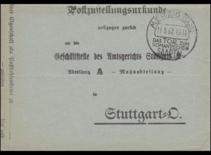 Postzustellungsurkunde mit SSt MERZIG Das Tor zum romantischen Saartal 11.5.1937