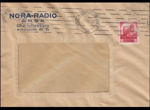 Firmenlochung H.A. auf 547 Nürnberg 12 Pf EF Brief BERLIN-CHARLOTTENBURG 4.10.34