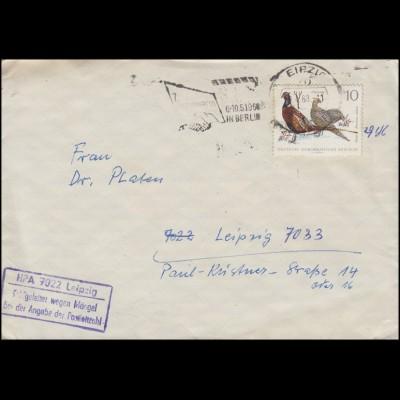 1357 Jagdfasane 10 Pf Orts-Brief Leipzig 9.4.68 Fehlgeleitet Postleitzahl-Mängel