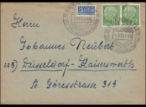 183x Heuss 10 Pf. Paar mit Notopfer auf Brief SSt ADENWEILER Therme 1.9.1955