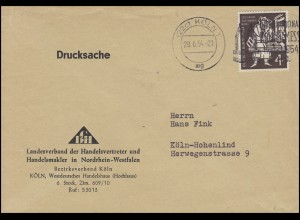 198 Gutenberg-Bibel 4 Pf EF Orts-Drucksache Handelsvertreter KÖLN 1 mg - 29.6.54