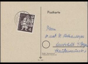 198 Gutenberg-Bibel als EF Postkarte BERLIN-CHARLOTTENBURG 2.6.54 nach Landshut