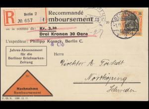 88I Germania 25 Pf. als EF auf NN-Postkarte BERLIN 1.12.1913 nach Schweden