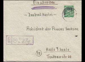 936 Ziffer 84 Pf EF auf R-Brief Not-R-Stempel MERTINGEN 21.8.1946 nach HALLE