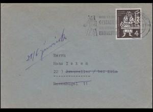 198 Gutenberg-Bibel 4 Pf EF Drucksache BRAUNSCHWEIG 19.6.54 nach Brauweiler/Köln