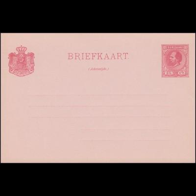 Surinam Postkarte / Post Card 2 1/2 Ct. rosa auf rötlich 1888, ungebraucht **