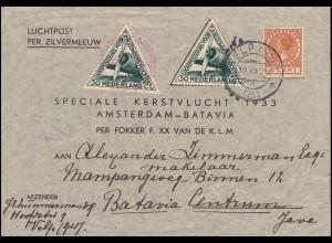 KLM-Weihnachtsflug Silvermeeuw-Brief AMSTERDAM-BATAVIA 18.12.33 ab VELP 14.12.