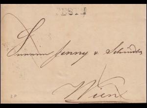 Ungarn Vorphilatelie R-Brief PESTH vom 30.10.1839 nach Zweizeiler WIEN 1. NOV.