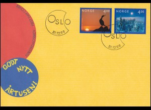 Norwegen 1335-1336 Jahrtausendwende III, 2 Werte, Satz Schmuck-FDC OSLO 31.12.99