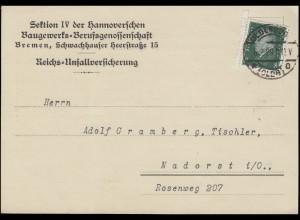 412 Ebert 8 Pf EF Postkarte Baugewerks-Berufsgenossenschaft OLDENBURG 6.2.1929