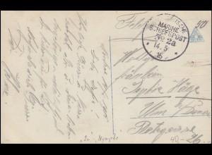 DEUTSCHE MARINE-SCHIFFSPOST No 2a - 14.5.1915 SMS Nymphe auf Propaganda-AK