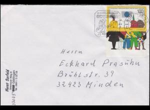 1472 Ausstellung DÜSSELDORF'90 aus Block 21 auf Brief Göttingen 4.9.95 n. Minden