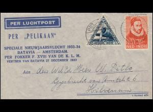 KLM-Neujahrsflug Pelikaan-Schmuck-Brief 27.12.33, PELIKAAN-PALEMBANG 25.12.33