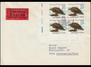 2702 Greifvögel: Seeadler ER-Viererblock Druckvermerk WPD 1, auf FDC ESSt BERLIN