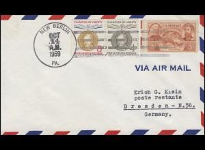 USA: Mischfrankatur auf Luftpostbrief NEW BERLIN PA. 14.10.1959 nach Dresden/DDR