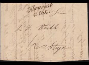 Österreich Vorphilatelie Faltbrief Zweizeiler Klagenfurt 18.12.(1842) nach STEYR