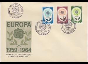 Portugal 963-965 EUROPA / CEPT 1964 - Satz auf Schmuck-FDC ESSt Lissabon 14.9.64