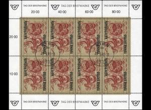 Österreich 2092 Tag der Briefmarke 1991, Kleinbogen Ersttagstempel WIEN 29.5.91