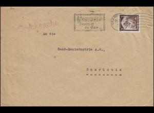 """Werbestempel """"Deutsch ist die Saar ..."""" auf Drucksache SAARBRÜCKEN 24.4.1935"""