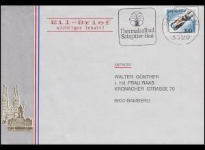 1496 Bobsport-WM Altenberg aus Bl.23 EF Brief Thermalsolbad SALZGITTER 14.10.91