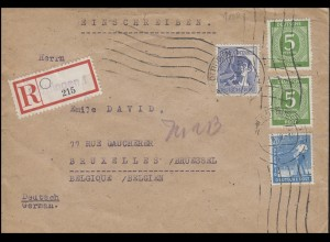 MiF Kontrollrat I+II auf R-Brief Not-R-Zettel GÖTTINGEN Juni 1948 nach Brüssel