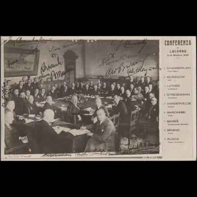 AK 10 Jahre Verträge von Locarno: Konferenzfoto von 1925, LOCARNO 24.4.1935