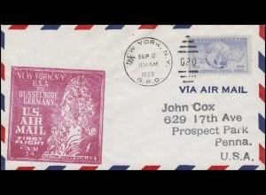 Erstflug F.A.M. New York - Düsseldorf EF auf Luftpostbrief NEW YORK 2.9.50