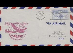 Erstflug F.A.M. TWA Chicago-Frankfurt/Main EF auf Luftpostbrief CHICAGO 1.6.1951