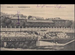 Feldpost auf AK Ulm/Donau Kienlesbergkaseren 9.2.16 mit rotem Feldpost-Aufkleber