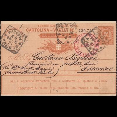 Italien Postanweisung A 17 von GENOA / GENUA 16.3.1894 nach Florenz