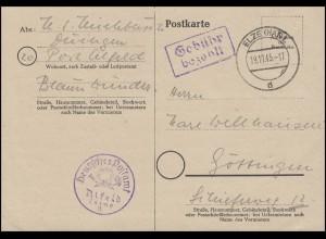 Gebühr-bezahlt-Stempel ELZE(HAN) 19.11.45 mit Dienstsiegel Alfeld auf Postkarte