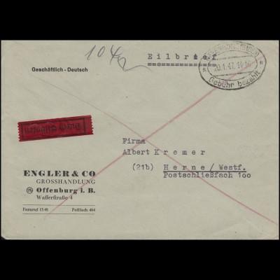 Gebühr-bezahlt-Stempel OFFENBURG (BADEN) 20.1.47 auf Eil-Brief nach Herne
