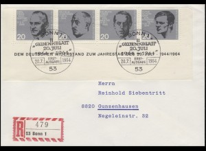 435-438 Attentat 20. Juli 1944 als Blockunterteil FDC ESSt Bonn n. Gunzenhausen