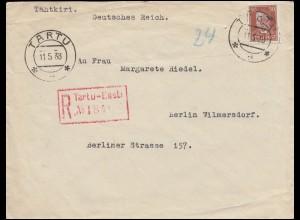 Bahnpost 119 Estland EF auf R-Brief Deutsches Konsulat TARTU 11.5.38 nach Berlin