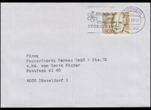 1157 Lübke EF Brief Pforzheim Schmuck- und Uhrenstadt 4.2.86 nach Düsseldorf