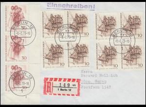 336 Berlinerinnen Randstreifen FN 1 + 332 Viererblöcke MiF R-Brief BERLIN 8.2.73