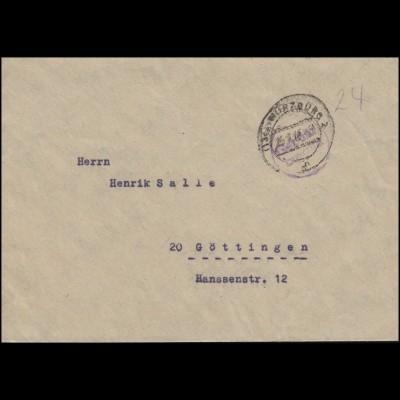 Gebühr-bezahlt-Stempel auf Brief WÜRZBURG 2 - 25.7.46 nach Göttingen